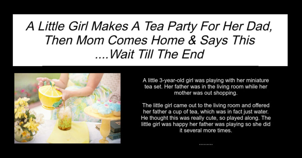 A Little Girl Makes A Tea Party For Her Dad