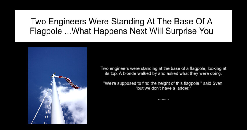Two Engineers Were Standing At The Base Of A Flagpole